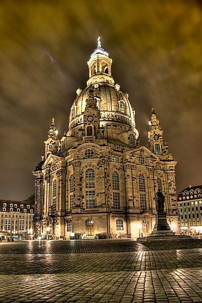 The Dresden Frauenkirche is a Lutheran church in Dresden, the capital of the German state of Saxony. Although the original church was Roman Catholic until it became Protestant during the Reformation, the current Baroque building was purposely built Protestant. It is considered an outstanding example of Protestant sacred architecture, featuring one of the largest domes in Europe.