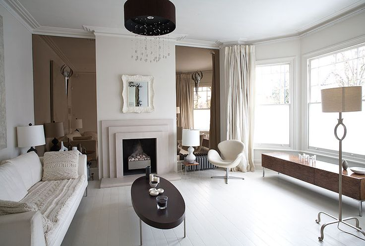 Smoked mirror in alcoves. | Harbor Park Livingroom Design ...