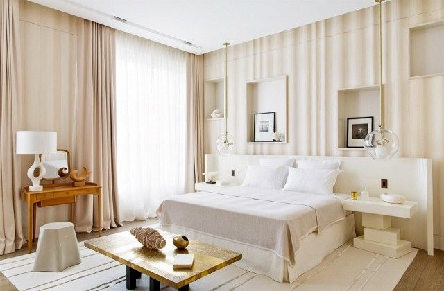 Serena's bedroom redesigned with ivory color furniture, and modern pendant lights