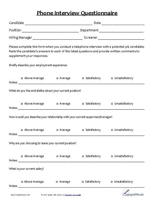 Best Sample Questionnaires Images On   Job Interviews