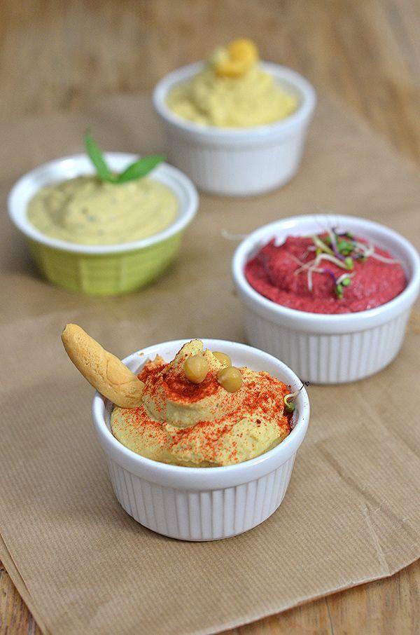 #DimequeesViernes.: Hummus variados: clásico, de remolacha, de altramuces y de pesto