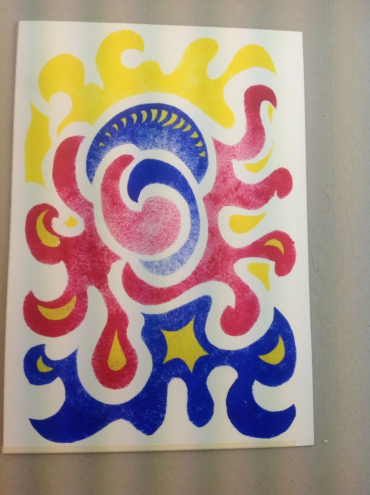 Megalo print studios a pochoir print that was created by a teacher.