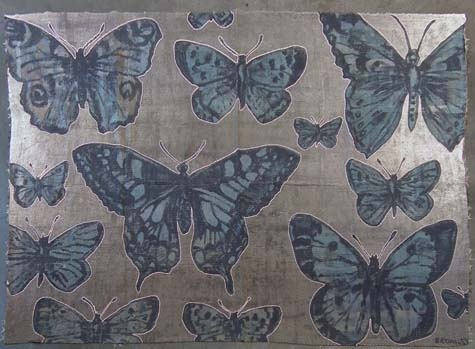 David  Bromley - Throw with Soft Blue and Pink Butterflies...i own this.!