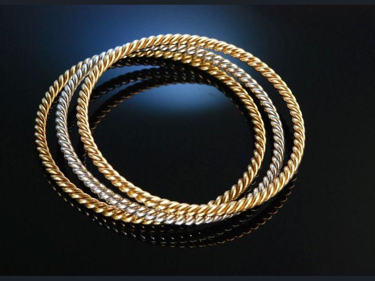 Exquisite tricolour gold bracelets! Exquisiter Satz aus 3 Armreifen 82 Gramm Gold 750 Schweiz um 1985