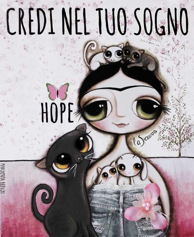 Black cat with big eyes, illustration by Margherita Arrighi
