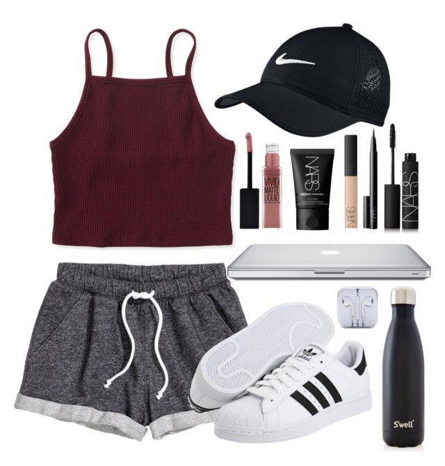 """lazy day."" by amazinggrace31 on Polyvore featuring NIKE, Aéropostale, H&M, Novo, Maybelline, NARS Cosmetics, S'well and adidas Originals"