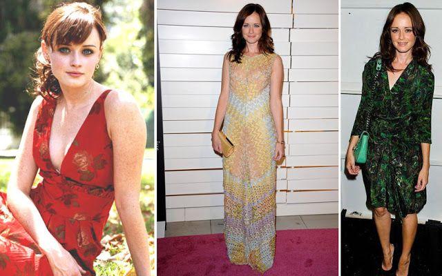 Алексис Бледел в платьях с разным цветовым контрастом