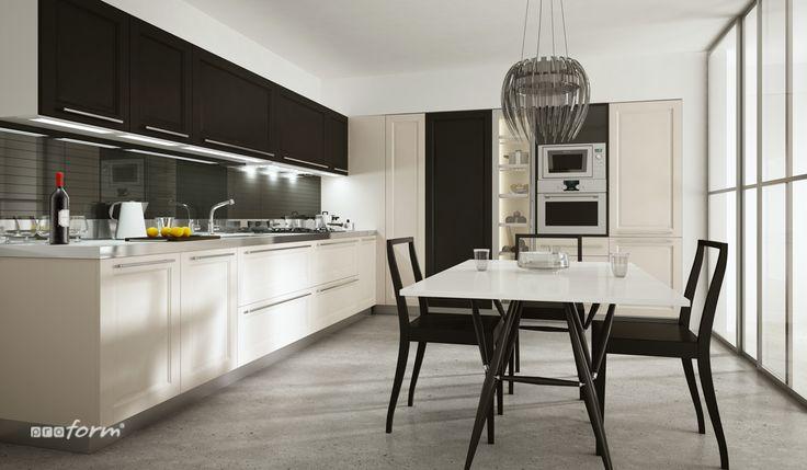 Układ kuchni w literę L pozwala na ustawienie przy wolnej ścianie choćby najmniejszego stołu do wspólnego spożywania posiłków. Jest więc dobrym rozwiązaniem dla wieloosobowej rodziny, bądź w sytuacji kiedy w naszym domu często przyjmujemy gości. Dla singla dużo lepszym rozwiązaniem będzie mini bar lub półwysep z hokerami lub wysokimi krzesłami. Taki bar można umieścić na końcu zabudowy kuchennej, jeśli przestrzeń jest otwarta na strefę dzienną.
