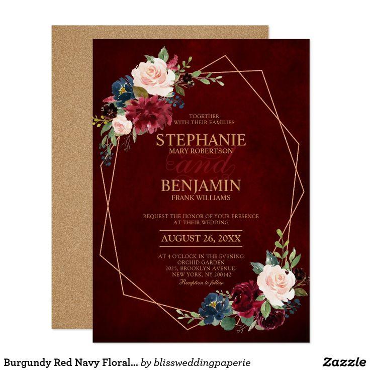 Burgundy Red Navy Floral modern geometric wedding Invitation   Zazzle.com