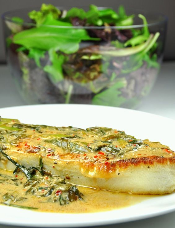 Pan seared Halibut with Garlic Chives-Ginger-Coconut Sauce I large halibut steak…