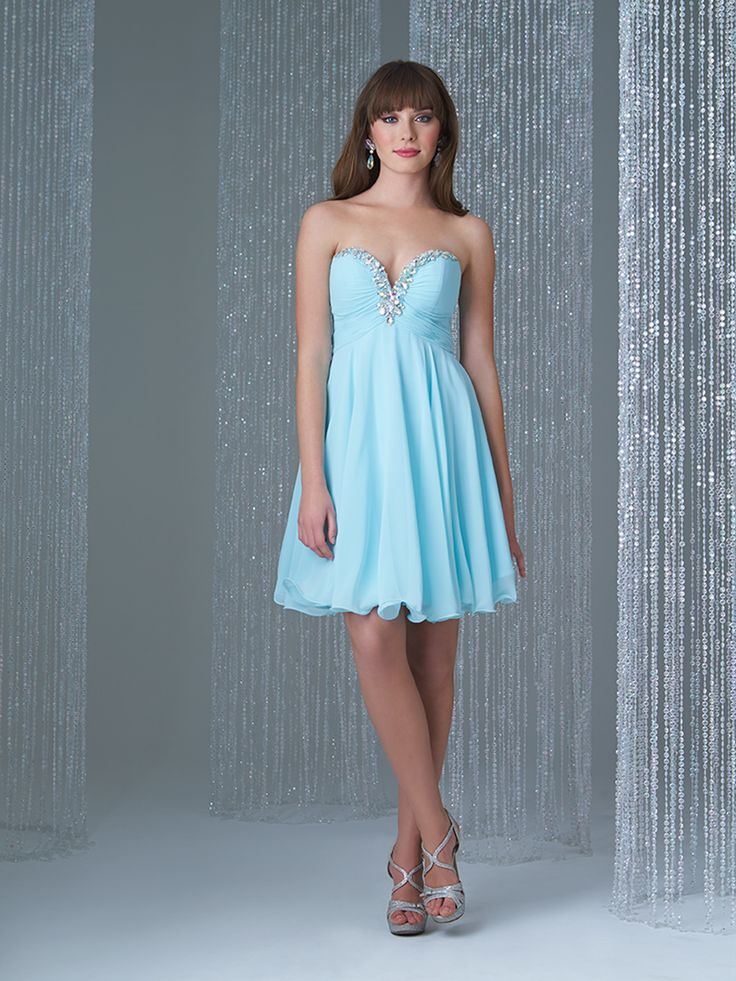 Sweetheart Chiffon Beaded Blue Bridesmaid Dress