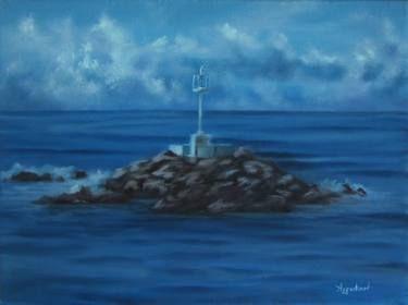 "Saatchi Art Artist ΑγγελικΗ  Aggeliki; Painting, ""The lighthouse"" #art Size: 30 H x 40 W x 1 cm"