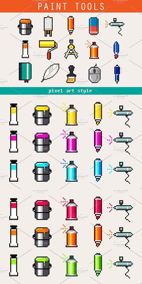 Paint Tools Pixel Art Icons Pixel Art Art Icon Painting Tools