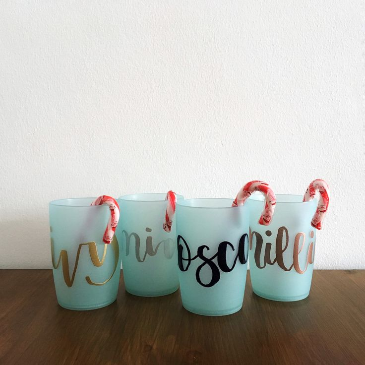 Brush lettered & Rose Gold, Silver, Black & Gold embossed Christmas cup DIY gift idea