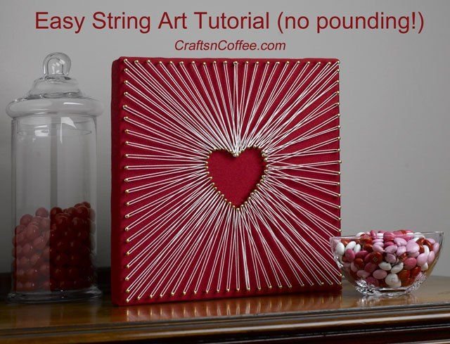 Amazing -- no wood or pounding used to make this string art! Tutorial on CraftsnCoffee.comString Art Heart, Crafts Ideas, Valentine Day, Heart String Art, Wood String Heart, Crafts Gossip, Diy, Stringart Heart, String Art Tutorials