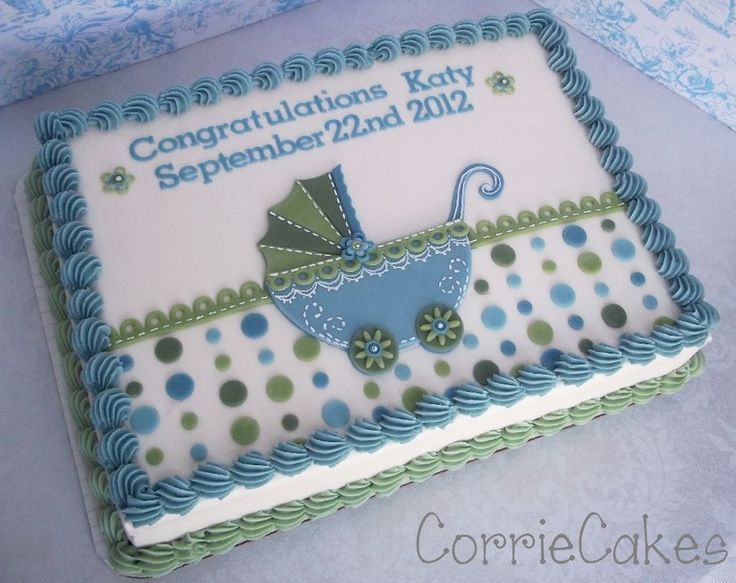 1/4 Sheet Iced In BC With MMF Decoations | Elegant And Cute Cakes |  Pinterest | Baby Boy Cakes, Boy Cakes And Cake