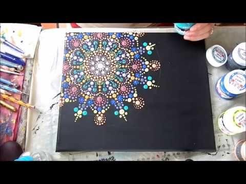How to paint dot mandalas on canvas--- Színpompás mandala festése vászonra - YouTube