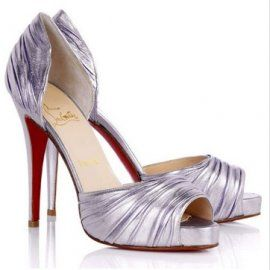 Christian Louboutin Pices Pumps Ruched Platform 100mm Pewter