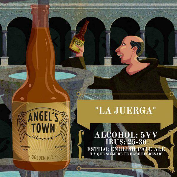 """Cerveza artesanal Angel's Town """"La Juerga"""", es la clásica cerveza rubia de estilo English Pale Ale, suave ligera y refrescante. De coloración cobre a amarilla ligera, de moderada carbonatación y espuma blanca. Es una cerveza de cuerpo ligero y de brillante claridad que la hace ideal para días de verano."""