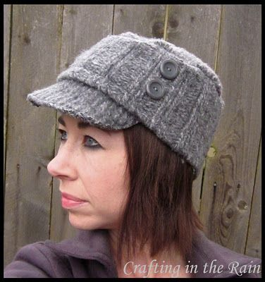 here is a old sweater hat using this pattern http://atsecondstreet.blogspot.com/2010/05/t-shirt-hat.html the brim is the collar... the top circle is the sweater...the band around the head is the band of at the bottom of the sweater