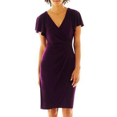 American Living Flutter Sleeve Side Drape Dress Jcpenney