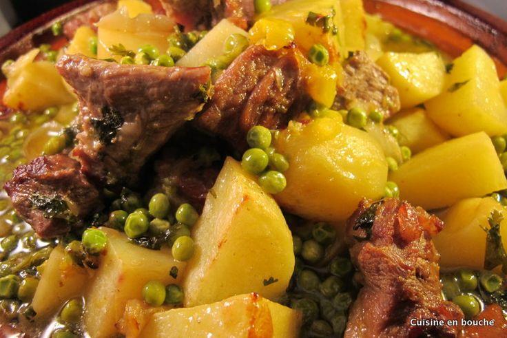 Tajine de veau, pommes de terre et petits pois