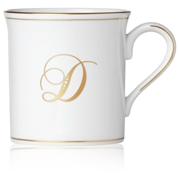 Lenox White Federal Gold Script Monogram D Mug ($43) ❤ liked on Polyvore featuring home, kitchen & dining, drinkware, white, white tea mugs, white cup, tea cup, monogrammed tea cups and white mug