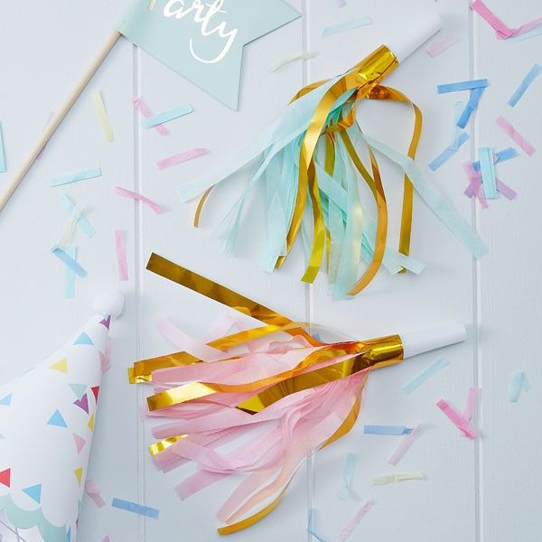 10 Gold Foil & Pastel Party Horn Blowers
