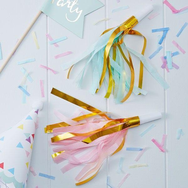 10 Gold Foil & Pastel Party Horn Blowers