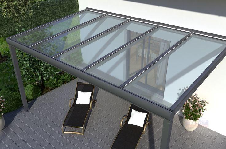 Terrassenüberdachung 7m x 3m mit Unterkonstruktion aus pulverbeschichtetem Aluminium,  vorbereitet  für Glas    Mit dieser exklusiven Aluminium-Terrassenüberdachung - Made in Germany - können Sie zu jeder Jahreszeit Ihren Garten...