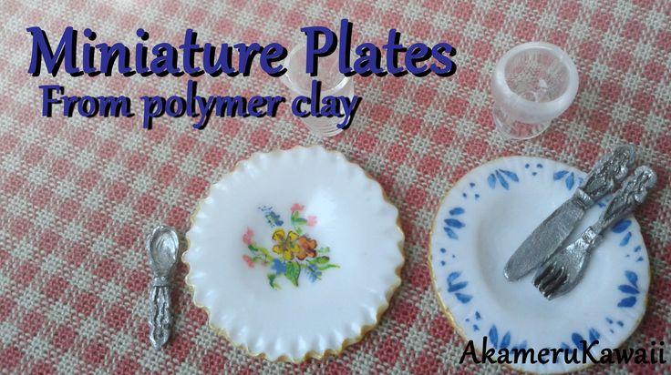 Miniature Plates Tutorial - Polymer clay Dollhouse miniature (+playlist)