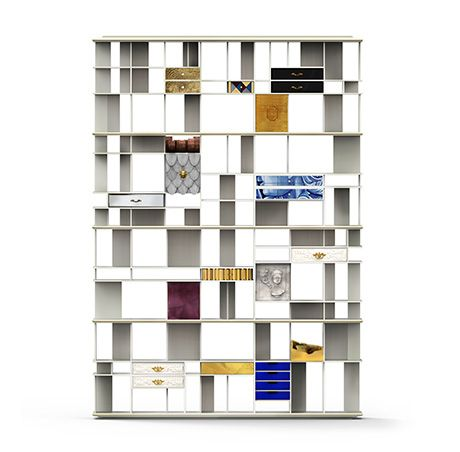 Coleccionista is a white bookshelf, a modern design bookcase with custom finishes.