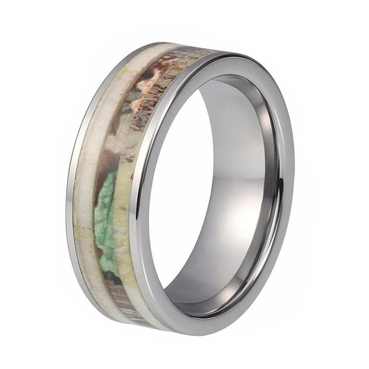 8mm Deer Antler Wedding Ring with Camouflage Inlay