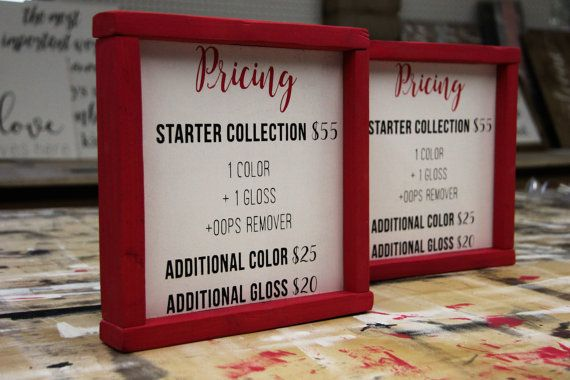 Lipsense Pricing Sign  This is perfect for Lipsense distributors who want to display the pricing during their parties! **Measurements are 9 x 9 **Frame painted in hot pink acrylic with black lettering  Light weight, portable and super cute