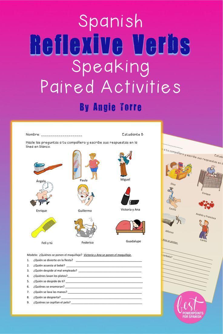 Spanish Reflexive Verbs Speaking Paired Activities Distance Learning Spanish Learning Activities Spanish Reflexive Verbs Verbs Activities [ 1102 x 736 Pixel ]