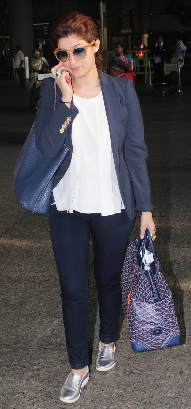 Twinkle Khanna at the Mumbai airport. #Bollywood #Fashion #Style #Beauty #WAGS