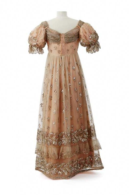 Court dress attributed to Empress Josephine, after 1810~Image from Chateau de Malmaision Costume Collection