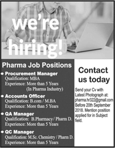 Jobs For Accounts Officer, QA Manager, Procurement Manager