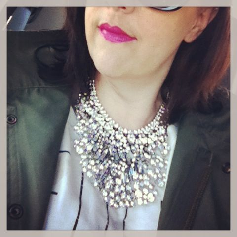 Layered rhinestones, my fave at jacket and bright pink lips.