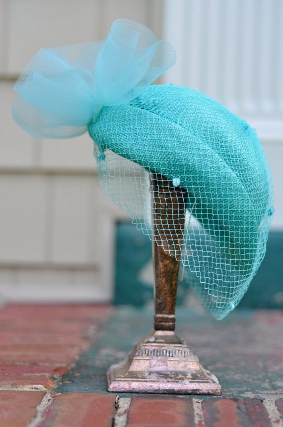 """Vintage hat- my grandmother wore a similar aqua hat with a lovely veil  to complement her Sunday best """"church suit"""" and white gloves. She looked stunning!"""