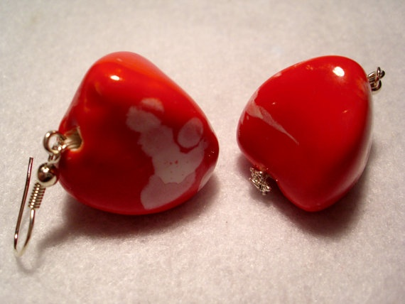 sweet x: Earrings Large, Ceramics Red, Red Earrings