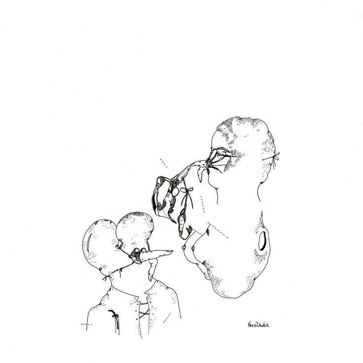 Céline Nieszawer, Le noeud, 2014 Encre sur papier, courtesy NextLevel Galerie