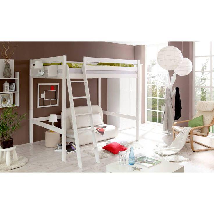 Délicieux Ikea Tromso Lit Mezzanine 140 X 200 #5: Lit Mezzanine Matthias, Pin Massif, 140 X 200 Cm - Blanc