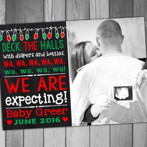 Christmas Pregnancy Announcement Holiday Pregnancy by CLaceyDesign