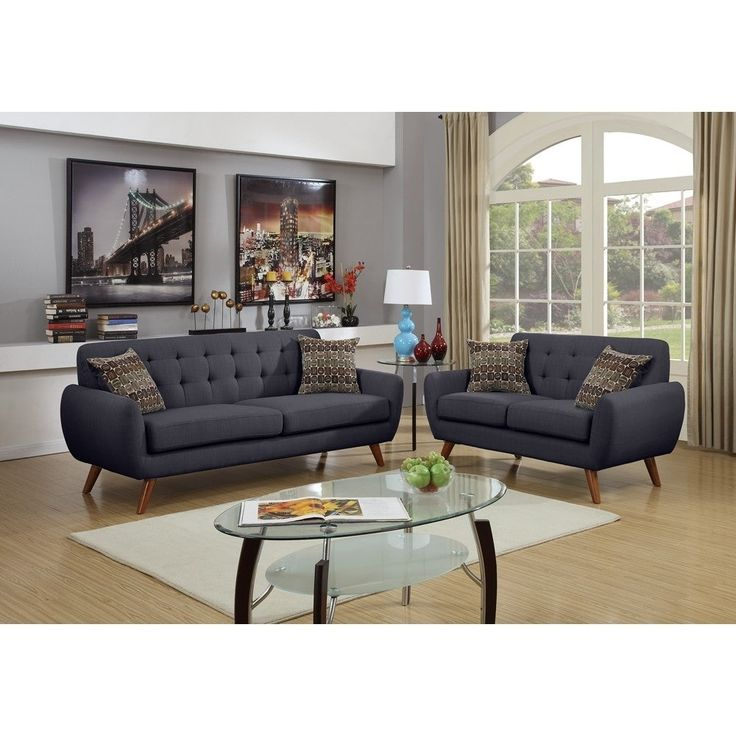 Best Polyfiber 2 Piece Sofa Set With Cushion Seats In Dark Gray 400 x 300