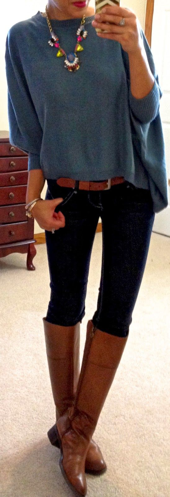 """Hello, Gorgeous!: threads. Teal rectangle sweater c/o Catch Bliss Boutique Dark-wash skinny jeans Brown belt Brown riding boots """"Yasi"""" necklace c/o Accessory Mercado Cuffs c/o Bauble Boutique"""