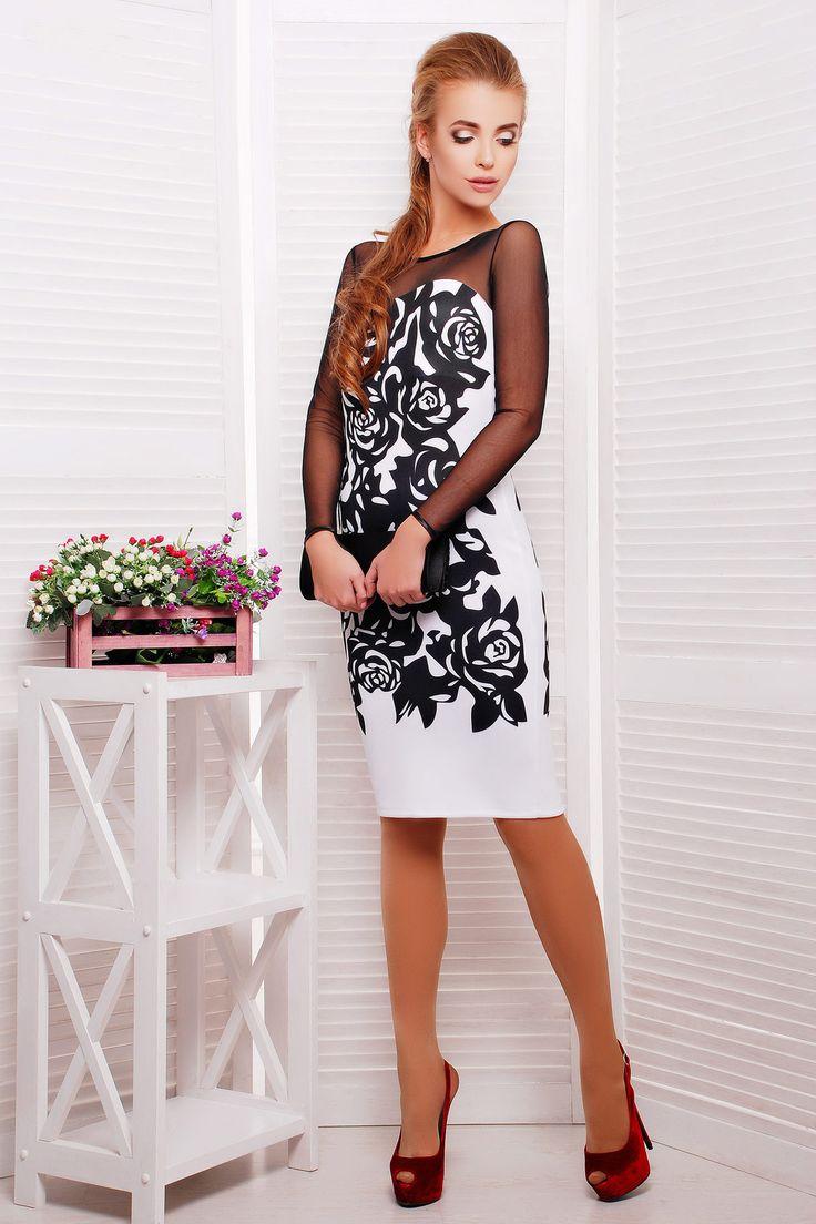Нарядное белое платье с черными розами и рукавами из сетки Черные розы платье Донна д/р. Цвет: белый