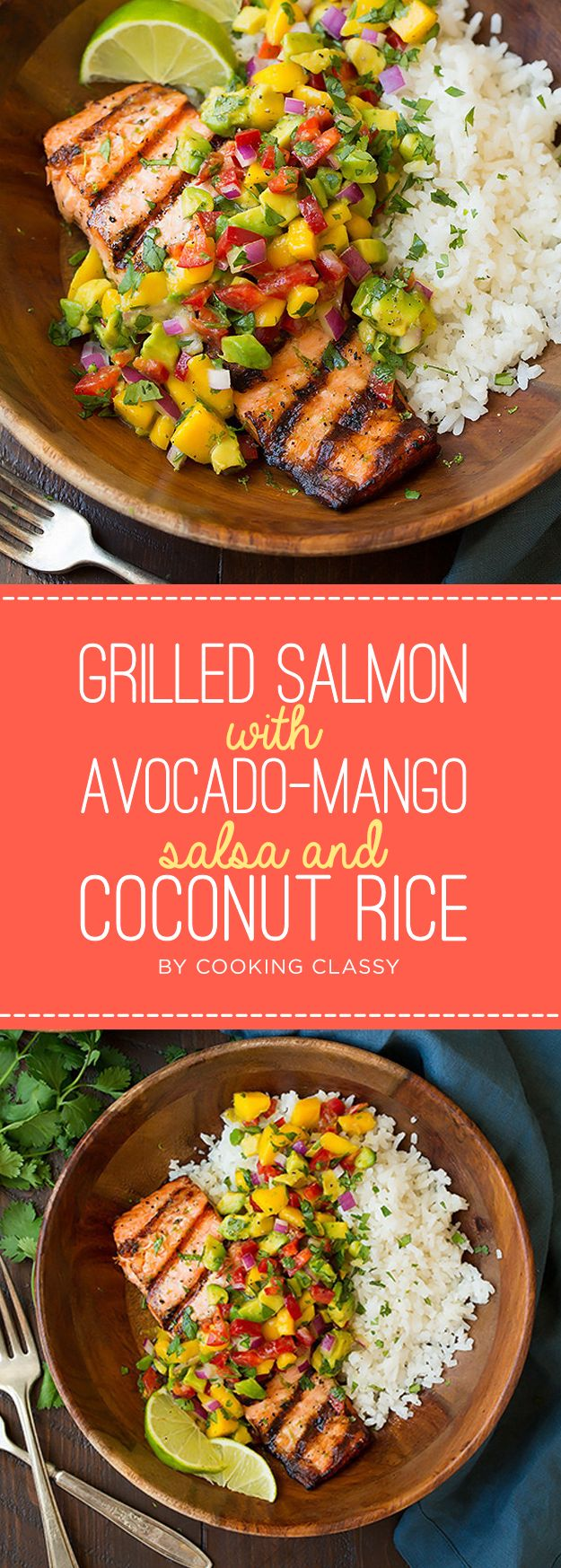 Grilled Salmon with Avocado-Mango Salsa and Coconut Rice