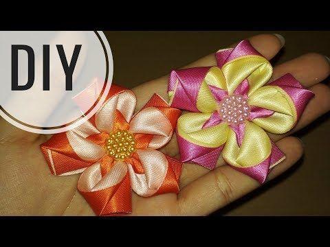 DIY || Cara Membuat Kanzashi Flower 03 - Tutorial Bros Simple by Lista Tsurayya - YouTube