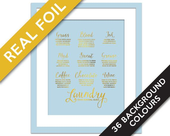 Laundry Stain Removal Guide Gold Foil Print - Laundry Room Poster - Infographic Art - Laundry Procedures Print - Laundry Art - Laundry Rules